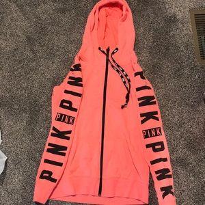 Victorias secret pink long zip hoodie